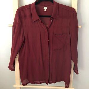 Aritzia Wilfred sheer blouse 100% silk